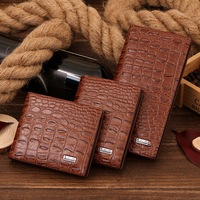 Free shipping wholesale European and American new men short wallet purse crocodile leather casual male bags 3 size