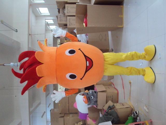 Hot sale 2014 Adult cartoon character cute orange monster Mascot Costume Halloween party costumes(China (Mainland))