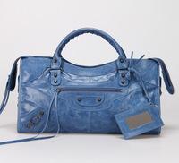 Top quality original brand messenger Yau Wax calf leather blue size L handbag shoulder bag fashion gift free shipping wholesale