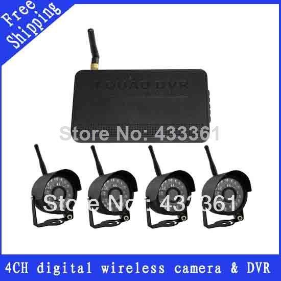 4CH 2.4G Digital Wireless Security system 817-4 4PCS IR Night Vision CCTV Camera +1PCS Quad DVR FREE SHIPPING(China (Mainland))