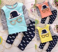 Cartoon Hat Glasses Casual Cotton Sets Kid's Baby Boys Sets Children's Sets Autumn Suits(4Sets/lot){iso-14-7-20-A5}