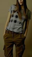 New Arrival 2014 Women British Short Sleeve O-neck Cotton T-shirt/Designer Brand Plaid Printing Blouse/Tops  M-XXL