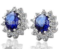 Plating 18K Rhodium Luxurious Blue Gem Zircon Crystal Earrings Jewelry ! Elegant Wedding Micro inlays earrings