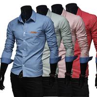 Refinement Plaid Classic Fashion Casual Long-sleeved shirt men's clothing