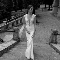2014 Berta New Sexy Deep V Neckline Lace Applique Mermaid Bridal Gowns Backless Cap Sleeve Beaded Custom Made Wedding Dresses