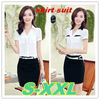 S-2XL size office uniform women's suits 2014 new plus size chiffon women blouses skirt sets work wear free shipping