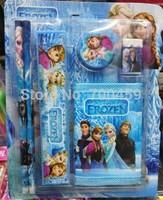 NEW 10 sets  (6 in 1) Frozen Purple princess pattern stationery set /Pencil/Eraser/sharpener/ ruler/ wallet  / kid gift