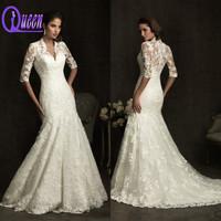 New Fashion Elegant See Through Back V-neck Half Sleeve Mermaid Applique Lace Muslim Wedding Dress