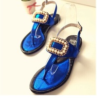 2014 summer new beaded rhinestone thong sandals flip Peas low-heeled shoes with flat sandals flat shoes tide