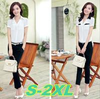 S-2XL size office wear women's suits 2014 new plus size chiffon women blouses pants suit free shipping