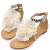 2014 Hot  low heel women sandals bohemia big flower women flat cover heel fashion flats big size 36-39 LX04