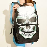 "Special Designer 2014 Ghost Head Women/ men skull backpack personalized travel 19"" laptop bag student school large back bag"