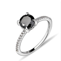 Fashion Fine 1.2ct Black Onyx  Ring 925 Sterling Silver Ring Size 6/7 Gift  Women