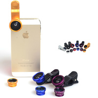 3 in 1 Wide Angel + Micro + fish eye Camera Telephone Universal clip kit Lens lense mini camera for Mobile phone iPhone Samsung