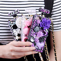 high quality 100% handmade Luxury mobile phone cases perfume bottle case Soft TPU Silicone Case With Gold Leather Chain