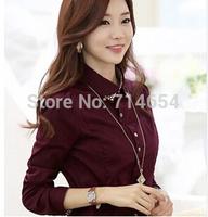 Spring 2014 New Korean style women shirt beading collar shirt office lady blouse Long Sleeve Women clothing Top Shirt S~XL