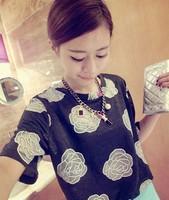 New 2014 Summer European Cotton Short Sleeve Net Embroidery Big Flowers O- neck  Loose Tee Tops girl t shirt women Free Shipping