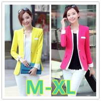 M-XL size fashion blazer for women 2014 new women slim plus size single breasted candy color blazer free shipping