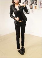 Free Shipping 2014 Women Leather Jacket Korean Fashion PU Leather Jacket  Women Slim Coat  Female's Leather  Jackets