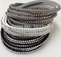 10 bracelets/lot handmade velvet bracelet with bling rhinestone wrap leather bracelet hot drill bangle for girl/women gift