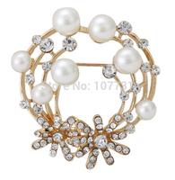 New Cheap Elegant Women Wedding Brooches Fashion Jewelry Rhinestone Flower Pearl Gold Plated Brooch Pins Free Shipping