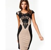 S-XXL New 2014 European Women brand new lace dress sexy package hip Slim nightclub tight round neck short sleeve dress