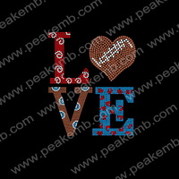 Hotfix Rhinestones Love Football Iron On Transfers Motif for Sportswear Free Shipping Custom Rhinestone Design 30Pcs/Lot