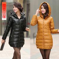 L-3XL 6Color2014 New Women's PU ol slim medium-long cotton-padded jacket plus size Down & Parkas winter outerwear wadded jacket