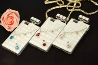 2014 hot sale Luxury CC Perfume Bottle Case Soft TPU Silicone Case Cover With Gold Leather Chain