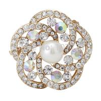 New Cheap Elegant Women Wedding Brooches Luxury Fashion Jewelry Rhinestone Flower Pearl Gold Plated Brooch Pins Free Shipping