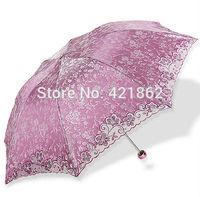 2014 New Hot Sales Rain Umbrellas Embroidered Anti-uv Sun Protection Umbrella 3 Folding Parasols Novelty Items