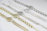 6pcs/lot Mix styles Interchangeable silver gold silver chain bracelet rhinestone ginger snap button 18mm snap bracelet jewelry