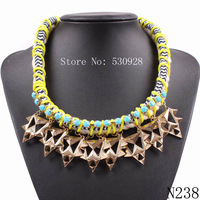fashion 2014 new design rope chain braided gold plated statement choker necklace for women elegant jewelry
