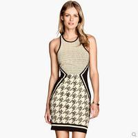 New Designer Dresses 2014 Women High Quality Sleeveless Slim Mini Bandage Vestido Club Sexy Dress Brand Celebrity Dress Party