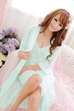 New 2015 Charming Ice Silk Women Sexy Robe Sets Spaghetti Strap Nightgown & Night Robe Silky Comfortable Nightgown Free Shipping(China (Mainland))
