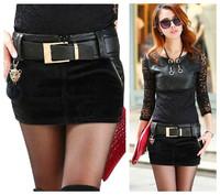 new fashion spring autumn winter 2014 black faux leather fur plus size casual short skinny pencil skirt women skirts female