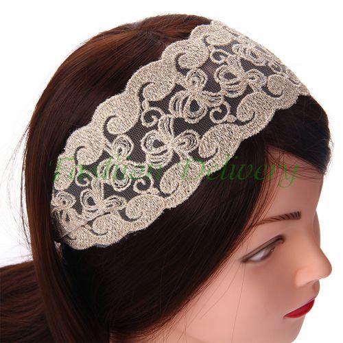 100pcs/Lot Women Fashion Fabric Lace Wide Stretch Headband Khaki Romantic Retro Cotton Head Wrap Free Shipping(China (Mainland))