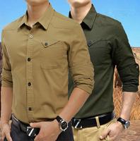 2014 Men Cargo Pocket Long Sleeve Casual Button Down Shirt Slim Fit