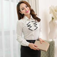 Free Shipping, 2014 Autumn New arrival, Women Female OL Slim Long-Sleeve Chiffon Shirt Blouses, Plus size S-2XL, 3 Colors