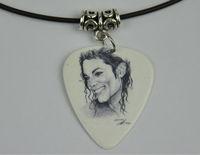 5Pcs Michael Jackson Medium 0.71mm Guitar Pick Necklace , Tibetan Silver Pendant Leather Cord J-3