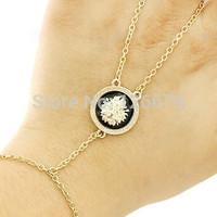 2014 New Fashion Gold Animal Lion Head Hand Chain Bracelet Bangle Gift for Girls