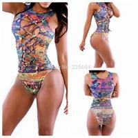 2014 Hot Sale triangle Girl Bikini Super Zebra Printed Women Swimsuit Hollow Out Swimwear Ladies Bandage Beach Dress M L XL