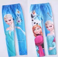 Retail 2014 new Frozen girls spring/autumn render pants, children's cartoon tight pants, cotton kind of blended children's pants