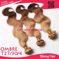 4 pcs lot,Grade 6A top quality ombre brazilian hair body wave human hair weave bundles,T30/27/4 3 color,double weft no tangle