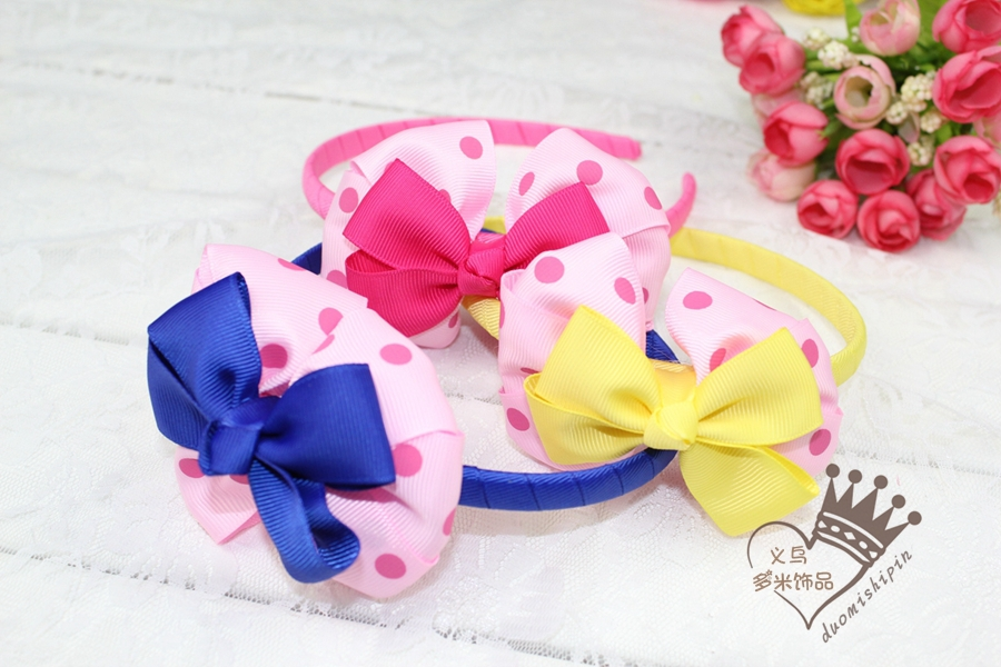 3colours New design ribbon headband boutique hair bow kids hair bows Girls' hair accessories12pcs/lot(China (Mainland))