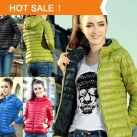 Women's Hooded Down & Parkas Jacket 2014 New Female Short Winter Jacket Zipper Coat Outwear Color Clothes Plus Size Top Quality