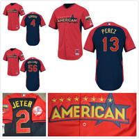 freeshipping American League Kansas City Royals #4 Alex Gordon/ perez / holland 2014 All Star Baseball jerseys/shirt