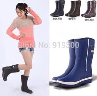 New 2014 Fashion Women Low Heels Buckle Rainboots Waterproof Rubber Rain Boots Mid-calf Short Water Shoes Multi Colors #TS78