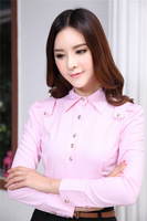 Elegant Pink Fashion Spring Autumn Long Sleeve Work Wear Blouses Formal Cotton Shirts Blouses For Office Ladies Fall Tops