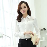 Free Shipping, 2014 Autumn New arrival, Women Female OL Slim Long-Sleeve Chiffon Shirt Blouses, Plus size S-3XL, White